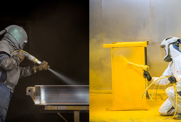 shot blasting and powder coating