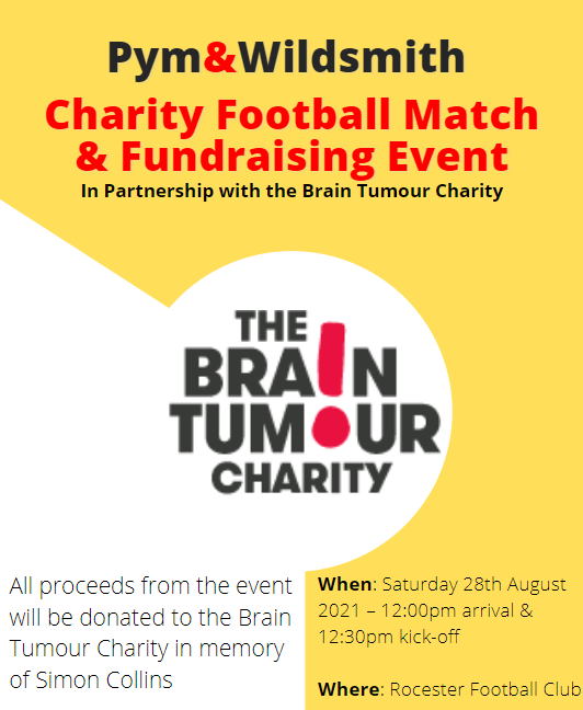 Pym & wildsmith charity fundraising poster for the brain tumour charity